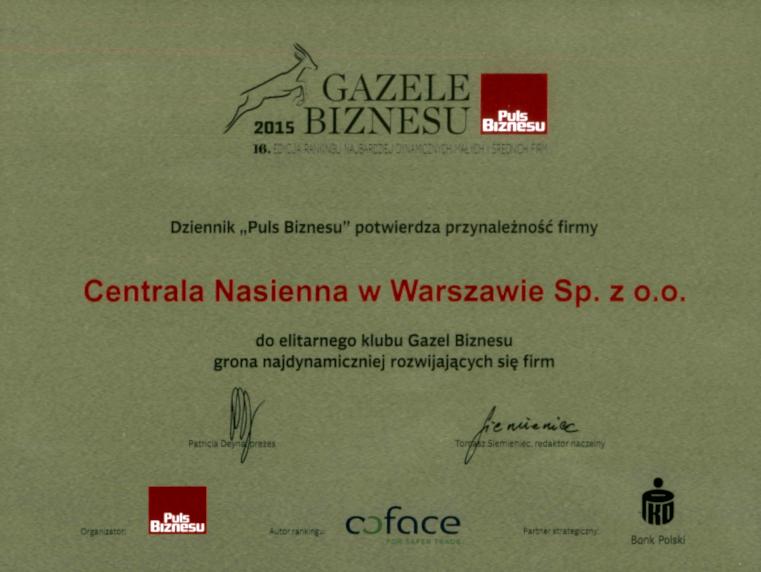 Gazele Biznesu Centrala Nasienna w Warszawie
